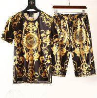 ingrosso uomini che indossano tuta-Moda Uomo Abbigliamento Imposta manica corta Stampa Tute 2 PCS Uomo Casual Summer Wear Designer Clothing Set