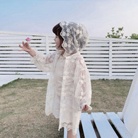 Wholesale girl novelties for sale - Group buy Summer baby girl lace outerwear hollow out sun protective clothing ultraviolet proof boutique children lace thin coat