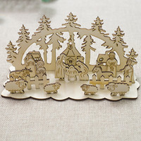Wholesale church christmas decorations for sale - Group buy New Year Stitching Snowman Christmas Decoration for Home Christmas Ornaments Wood Church for Table Decorative