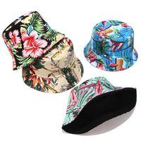 Wholesale collapsible hats sun resale online - Fisherman Hat women New Print Double sided Wear Sun Hat Summer Outdoor Travel Collapsible Basin Cap men bucket sun beanies