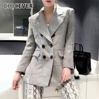 kadınlar için yeni kore kıyafetleri toptan satış-CHICEVER Sonbahar kadın Blazer Çentikli Yaka Uzun Kollu Düğme Pullu Ekose Mont Giyim Kadın Moda Yeni 2019 Kore