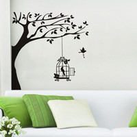 Wholesale tree branch vinyl wall art for sale - Bird Cage Hanging in Tree Branch Wall Stickers Vincy Wall Sticker Home Decor Living Room Sofa Background Wall Art Decals