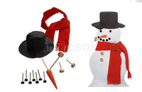 Wholesale pipe hat for sale - Group buy Wooden Simulation Dress Up Snowman Kit Christmas Decor Accessories Set Kit Snowman Eyes Nose Mouth Pipe Buttons Scarf Hat DA1