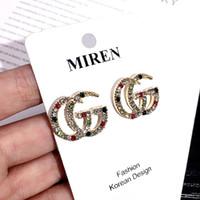 pendientes de doble pendiente al por mayor-Moda europea Letras G Pendientes Oro Plateado Ear Studs Double-G Earddrop Para Mujer Joyería de Fiesta de Niña
