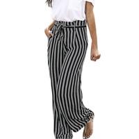 Wholesale ropa deportiva resale online - Yoga Pants New Arrivals Striped Baggy sports pants for women Belt Bandage women sport loose ropa deportiva mujer gym