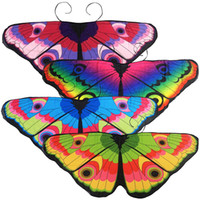 prinzessin tier kostüme großhandel-Kinder Mädchen Prinzessin Mantel Fee Schmetterling Kostüm Flügel Monarch Chiffon Kinder Phantasie Cape Pixie Cosplay Tier Schal MMA2405