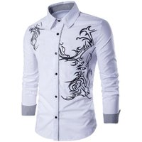 asiatische größe langarmshirts großhandel-Herren-Shirts Cardigan Frühling und Herbst Art Printed Shirts Freizeit T-Shirts mit 4 Farben asiatischer Größe M-3XL