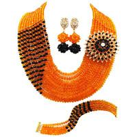ingrosso set nero del braccialetto della collana del branello-Vendita calda Orange Black Crysral Anniversary Women Beads Necklace Earrings Bracelet Set 10C-CJZ-38