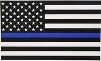 ko großhandel-Thin Blue Line Flag Aufkleber - 2.5 * 4.5 in Schwarz Weiß und Blau American Flag Aufkleber für Autos und Trucks.