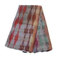 spitze bestickte hochzeitskleider großhandel-Neueste Afrikanische Spitze 2019 Multi Color 5 Yards Hochzeitskleid Nigeria Gestickte Hochwertige Multi Color Schnur Spitze Stoff X1555