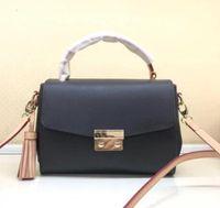 orta deri çanta tozu toptan satış-Kadın Hakiki Deri Omuz Çantası Marka Croisette Püskül Çanta Crossbody Çanta Orta Kolu Tote N41581
