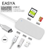 Wholesale usb multi sd card reader resale online - EASYA Multi Port USB C Hub Adapter USB Hub with SD TF Card Reader Slot Silver for MacBook Pro Type c