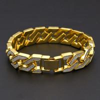 pulseira de diamante jóia de cristal pulseira venda por atacado-Hip Hop Mens Iced out pulseiras cadeia Bling Cristal de diamante de Prata de Ouro cubano Link cadeia Wrap Bangle Para mulheres Rapper Hiphop Jóias