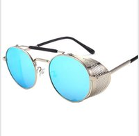 kadın s yuvarlak güneş gözlüğü toptan satış-Güneş gözlüğü, avrupa ve amerikan yuvarlak Retro- yansıtıcı gözlük, güneş gözlüğü, güneş gözlüğü, erkek ve kadın gözlük