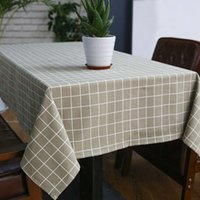 Wholesale linen style tablecloths resale online - Sytlish Linen Table Cloth Country Style Plaid Print Multifunctional Rectangle Table Cover Tablecloth Home Kitchen Decoration