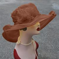 Wholesale wide brim organza hat resale online - 9 Colors Women Kentucky Derby Wide Brim Wedding Church Occasional Organza Sun Hat Hot Sale
