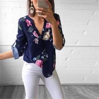 frauen lose langes hemd großhandel-Womens New Langarm V-Ausschnitt Blumendruck Tops Fashion Damen Sommer Casual Bluse Loose Shirt
