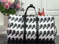 bolsa grande de equipaje negro al por mayor-Bolsa de viaje m41418 Blanco y Negro Impreso Mike grande del bolso de la capacidad de la cadena de moda al aire libre nueva del cuero de lujo de alta calidad equipaje Bag45