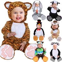 menina panda vestido venda por atacado-Hot Dress Up 2019 New Halloween Costumes Criança infantil Animais do bebê Panda Lion Tiger Coelho Owl Pinguim Cosplay para Baby Boy Girl