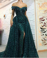 Wholesale sparkled dresses for sale - Group buy 2019 Sparkling Sequined Mermaid Dresses Evening with Long Overskirts Side Split Off Shoulder Prom Dresses Side Split Pageant Party Gowns