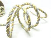 ingrosso cordone artigianale giallo-CLEARANCE | 5 Yards 7mm Corda gialla e argento Corda | Corda | Corda | Corda decorativa | Corda | Forniture artigianali