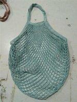 bolsas de compras reutilizables de moda al por mayor-Las mujeres calientes de verduras portátil plegable reutilizable de frutas cesta de la compra de la señora Fashion malla tejida neto de mano Bolso de ultramarinos