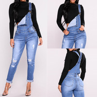 джинсы из макакао оптовых-Denim Overalls Women Casual daily Jumpsuit Solid Holes Straps Tight Calf Jeans Streetwear office fashion Rompers Macacao#ssw