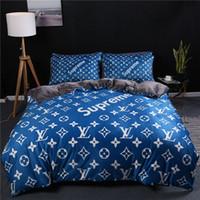 Wholesale velvet sheets resale online - Popular Logo Red Blue Bedding Sets Autumn And Winter Soft Crystal Velvet Bed Cover Sets Pieces Sheet Queen King Bedding Supplies