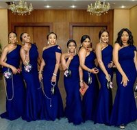 Wholesale one shouldered long bridesmaid dresses resale online - Royal Blue One Shoulder Mermaid Bridesmaid Dresses Simple African Garden Country Wedding Guest Gowns Maid Of Honor Dress Plus Size