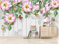 papel pintado decorativo moderno al por mayor-Sala 3D papel tapiz de tela foto personalizada Moderno minimalista pintado a mano de color rosa pintura decorativa decorativa papel tapiz para paredes 3 d revestimiento de pared