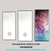 paketlenmiş cam ekran koruyucu toptan satış-Samsung Not 10 Pro 3D Kenar Tutkal Tam Kapak Perakende Paketi Ile Anti Parmak Izi Ekran Koruyucu Temperli Cam