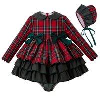 vestidos de navidad rojos para bebe al por mayor-Pettigirl Otoño Rojo Ropa de bebé Establece la muchacha del niño vestidos de Navidad + PP + pantalones de ropa del bebé del capo equipo de la Navidad para niños