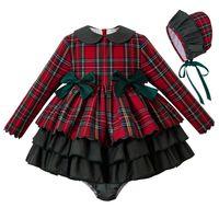 bebekler için kırmızı elbiseler toptan satış-Pettigirl Sonbahar Kırmızı bebek kıyafetleri Bebek Kız Noel Elbise + PP Pantolon + Bonnet Bebek Kız Noel Kıyafet Çocuk giyim