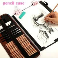 Wholesale wood pencil eraser resale online - 29pcs set Portable outdoor drawing art supplies Sketch Pencils case Charcoal Eraser Cutter Kit Bag Art Craft For Drawing Tools