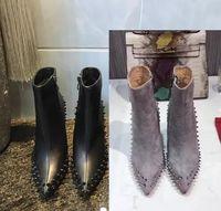 резиновые туфли оптовых-Роскошный черный красный кожа с шипами острыми пальцами Женские ботильоны мода дизайнер сексуальные дамы Красное дно туфли на высоких каблуках насосы