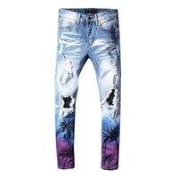 punk rock kot pantolonunu parçaladı toptan satış-Erkekler Sıkıntı Yırtık Kaya Kot ABD BOYUTU JUSTIN BIEBER Ünlü Tasarımcı Tahrip Erkek Denim Jeans Hip Hop Punk Pantolon Için Mens