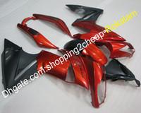 satış sonrası kawasaki ninja fairings toptan satış-Kawasaki Kaportalar İçin Motosiklet Kaportaları ER-6F 650 2009 2010 2011 650R Kırmızı Siyah Sportbike Fairing Aftermarket kiti