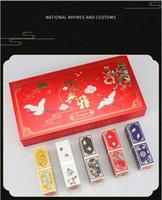 cajas de maquillaje chino al por mayor-Nuevo estilo de maquillaje estilo chino Forbidden Palace caja de regalo de lápiz labial Hidratante de larga duración hidratante impermeable que no deja marcas (5pcs / box)