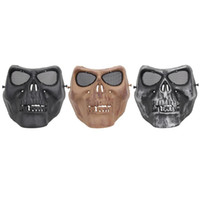 маски фильма ужасные оптовых-Creepy Horror Skull Полумаска для CS Paintball Movie Party Косплей Реквизит