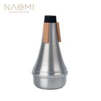 instrumentos de viento al por mayor-NAOMI Trompeta Muda Aluminio Trompeta Muda Práctica Recta Color Plata Para Trompeta Instrumentos de Viento de Madera Instrumentos