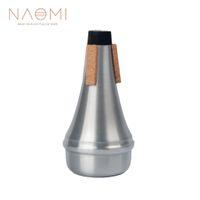 instrument trompete silber großhandel-NAOMI Trompetendämpfer Aluminium Trompetendämpfer Straight Practice Silber Farbe Für Trompete Holzblasinstrument Zubehör