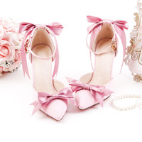 ingrosso tacchi a sandalo alla caviglia-Ladies Sandals Riband Bow Beautiful Style Sweety Princess 10cm Tacchi alti Thin Buckle Anklet Graceful Girls Party Shoes donna