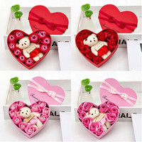 Wholesale valentines day flowers resale online - 2020 Valentines Day Flowers Soap Flower Gift Rose Box Bears Bouquet Wedding Decoration Gift Festival Heart shaped Box XD23150