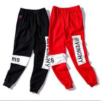 erkekler damla kasık pantolon toptan satış-2019 yeni GIVENC erkek Nakış joggers erkek hiphop kot için düşük damla kasık hip hop sarouel dans baggy pantolon pantolon erkekl ...