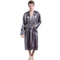 nachthemd männlich großhandel-2019 neue Frühling Herbst Luxus Bademantel Männer Feste Satin Pyjamas Kimono Sommer Männlichen Nachthemd Saten Robe Albornoz Hombre Badjas 10