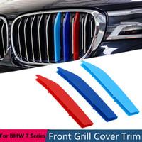 tiras de carreras al por mayor-3 unids Grille Trim Strip pegatina cubierta para BMW 7 Series G11 G12 2016 2017 2018 3D M-color Car Front Racing Grill decoración