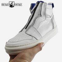 sapatos hip hop de inverno venda por atacado-Sapatos de inverno Homens Zip Ankle Boots Do Exército de Alta Qualidade Branco Couro Genuíno Sapatilhas de Hip Hop Luxo Preto Alta Top Formadores