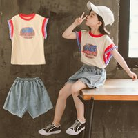 Wholesale new arrivals kids clothes set summer for sale - Group buy 2020 New Arrivals Summer Children Girls Clothes Sets Boutique Ruffle Top Jeans Shorts Clothing Set Fashion Big Kids Outfits T200707