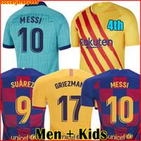 uzun kollu futbol forması erkek toptan satış-FC futbol forması 19 20 4th ANSU FATI 2019 2020 Messi GRIEZMANN DE JONG camiseta futbol gömlek erkekler + çocuklar kiti üniforma uzun kollu