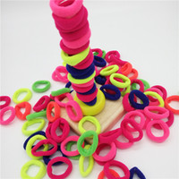 bebek lastik bantları toptan satış-100 adet / paket Şeker Renk Temel Lastik Bant Çocuk Yürüyor Bebekler Elastik Saç Bandı Bebek Kız Saç Halat Aksesuarları
